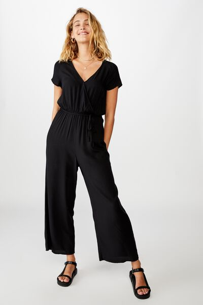 Woven Janine Short Sleeve Jumpsuit, BLACK