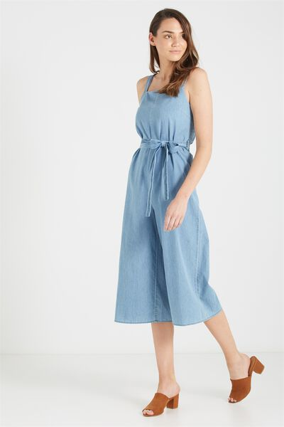 Woven Jessie Culotte Jumpsuit, CHAMBRAY