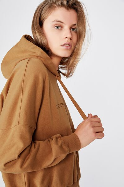 Harper Boxy Hoodie Graphic Fleece, THOSE WHO WANDER BISCUIT