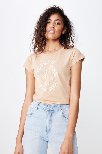 Essential Slogan T Shirt, DE DAME/BRUSH