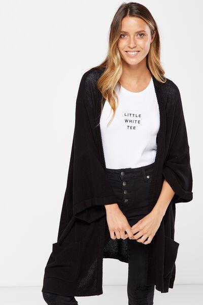 Ella Kimono Sleeve Ete Cardigan, BLACK
