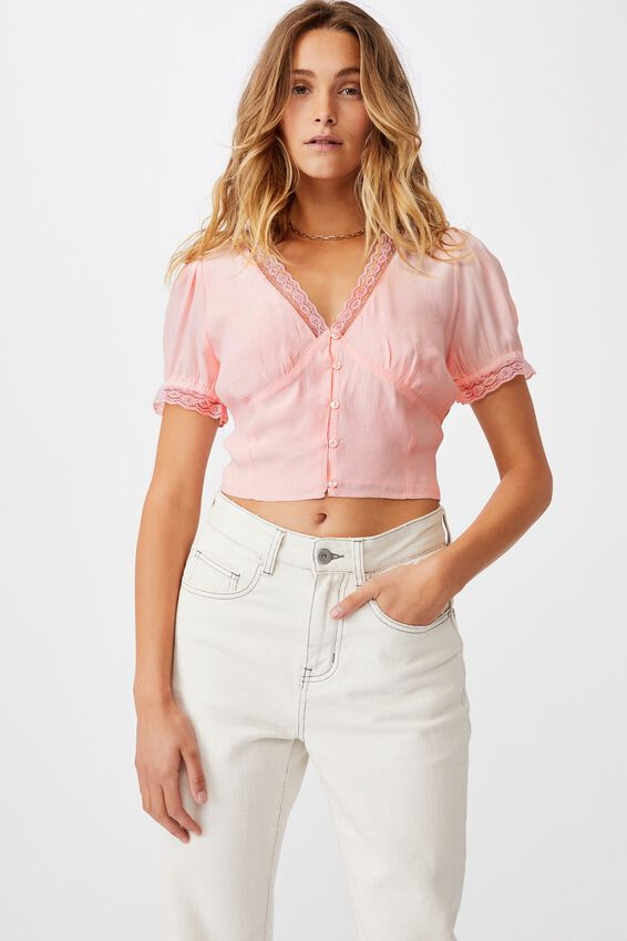 Lace Trim Short Sleeve Blouse - Petite, SWEETHEART PINK