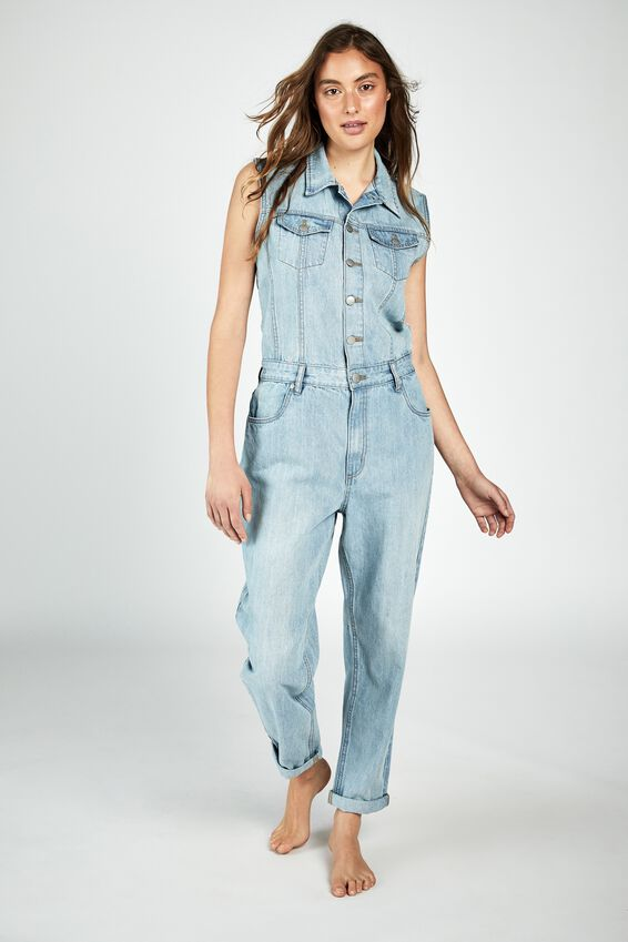 Sleeveless Denim Boiler, BROOKLYN BLUE