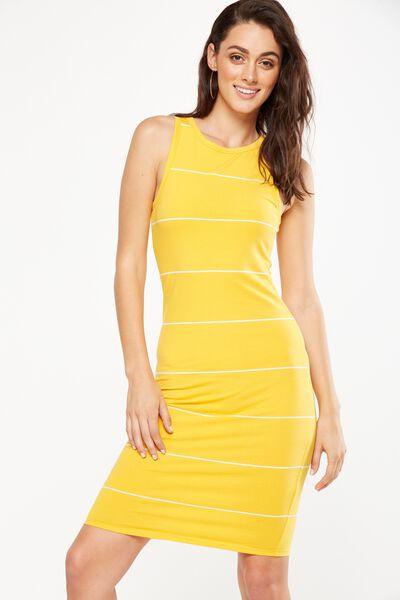 Lena Midi Dress, SUNFLOWER/WHITE LARGE WIDE STRIPE