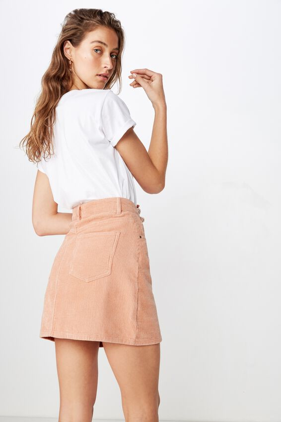 Woven Havana Cord Mini Skirt, DUSTY PINK