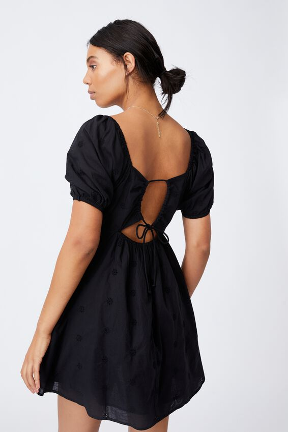 Woven Patty Embroidery Open Back Tea Dress, BLACK EMBROIDERY