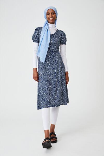 Elina Short Sleeve Midi Dress, ASHLEE DITSY MEDIEVAL BLUE