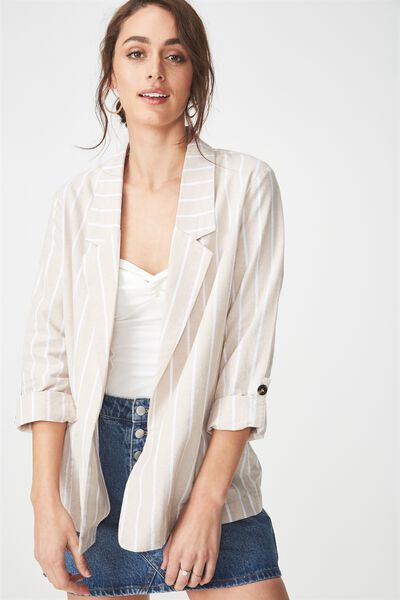 Deconstructed Soft Blazer, OAT/WHITE STRIPE