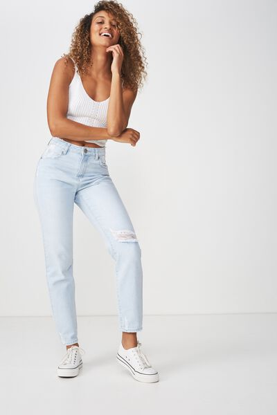 High 90S Mom Jean, BLUR STONE LIGHT BLUE RIPS