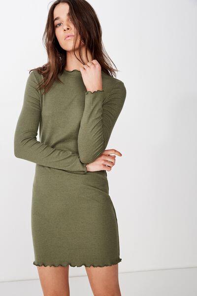 Grace High Neck Long Sleeve Mini Dress, SOFT KHAKI RIB