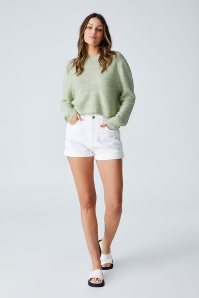 Cotton Cropped Pullover, DUSTY MINT WHITE TWIST