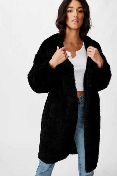 Teddy Longline Coat, BLACK