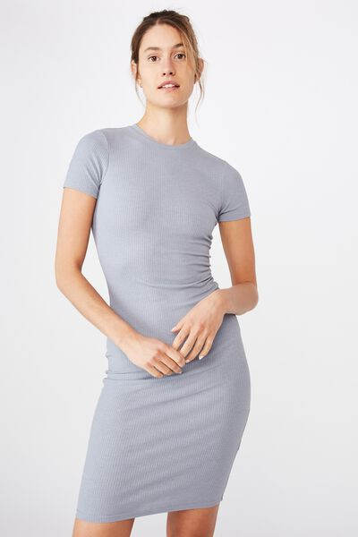 Essential Short Sleeve Bodycon Midi Dress, TRADEWINDS RIB