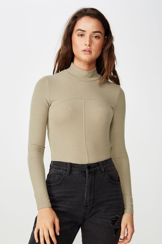 Haze Spliced High Neck Long Sleeve Top, SILVER SAGE