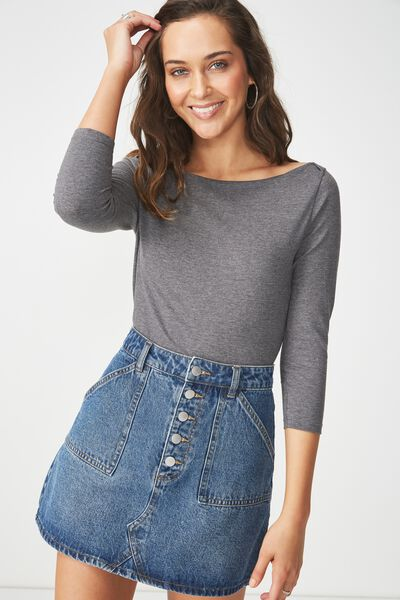 Everyday 3/4 Sleeve Boat Neck Top, CHARCOAL MARLE