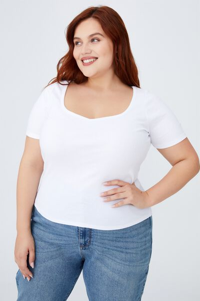 Curve Sweetheart Short Sleeve Top, WHITE