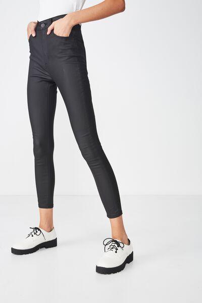 High Rise Grazer Skinny Jean, COATED BLACK