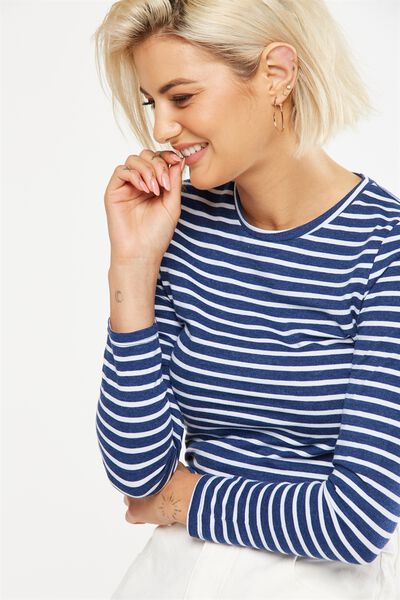 Basic Fitted Crew Long Sleeve Top, CLASSIC BRETON STRIPE DENIM MARLE/WHITE