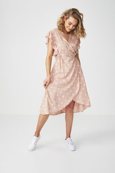 Woven Winnie Wrap Hi Low Dress, CHLOE SPOT TUSCANY