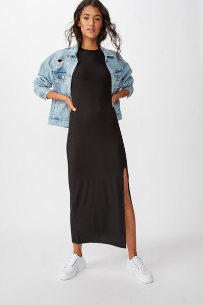 Gracie Short Sleeve Maxi Dress, BLACK RIB
