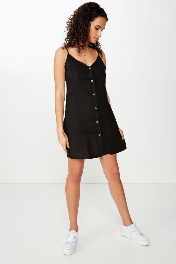 Woven Maisy Strappy Mini Dress, BLACK