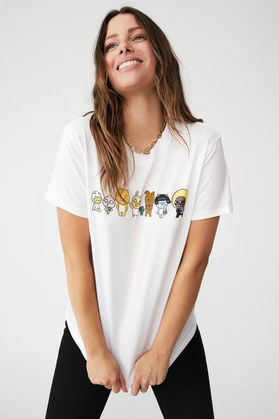 Classic Pop Culture T Shirt, LCN KAKAO BEAR LINE UP/WHITE