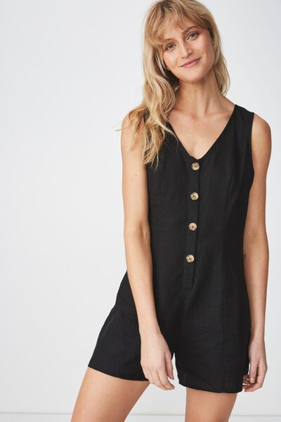 Woven Vicky V-Neck Button Through Playsuit, BLACK