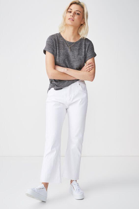 Kathleen Short Sleeve Top, CHARCOAL TWIST
