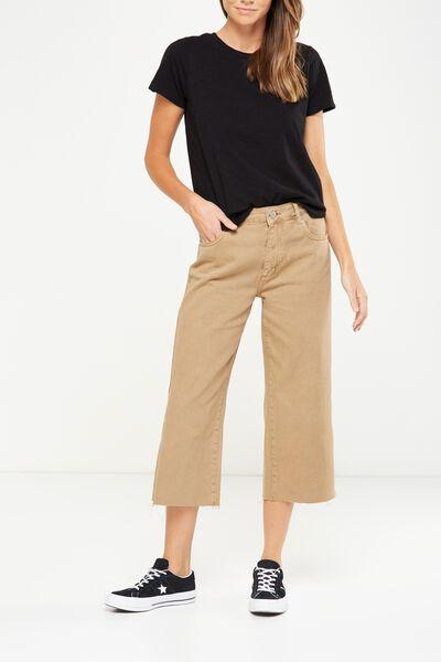Mid Rise Wide Leg Crop Jean, SANDSTONE