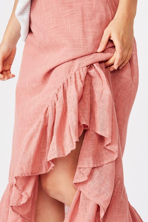 Atlas Ruffle Midi Skirt, CANYON ROSE