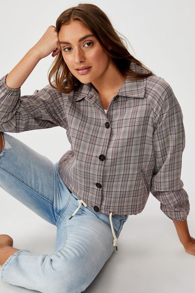 Cassidy Cropped Jacket, AUBERGINE CHECK