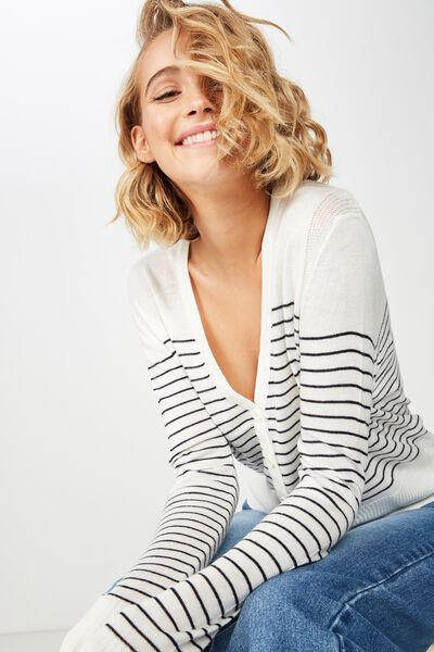 Cutesey 2 Button Through Cardi, WHITE/NAVY MINI STRIPE