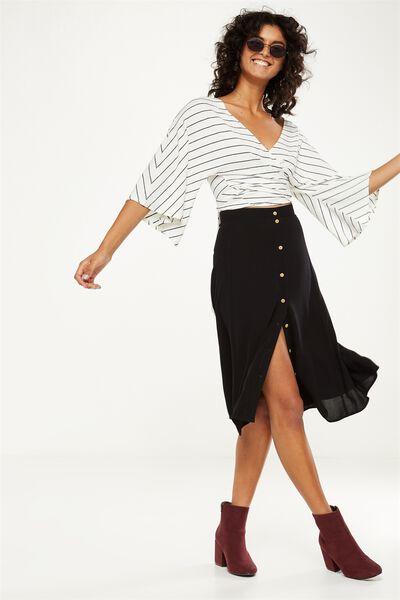 Woven Ryder Midi Skirt, BLACK