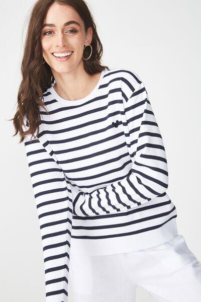 Ferguson Graphic Crew Sweater, LCN MICKEY HEAD EMBO MOONLIGHT STRIPE/WHITE