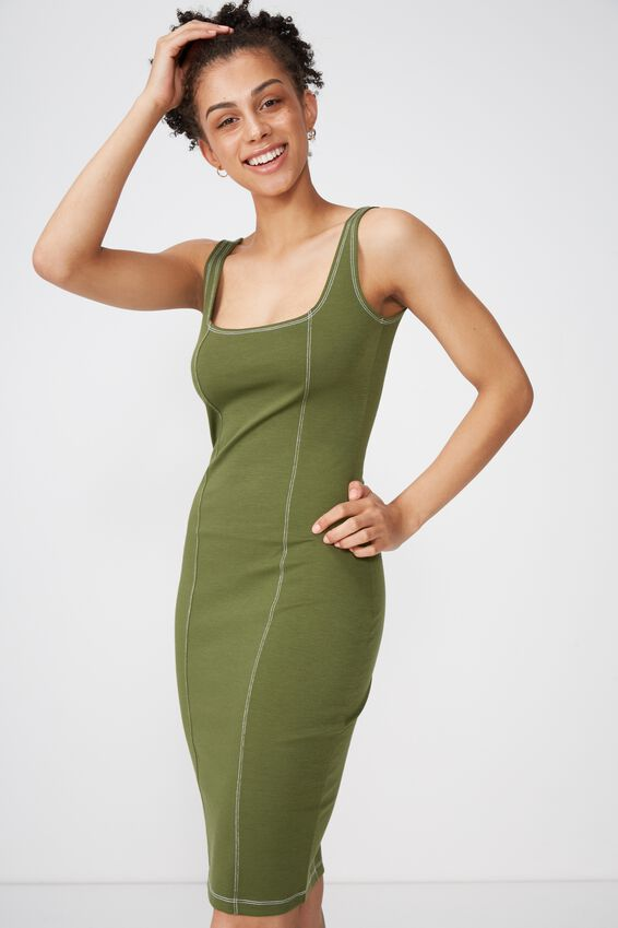 Kimi Scooped Bodycon Midi Dress, CYPRESS WITH CONTRAST STITCH