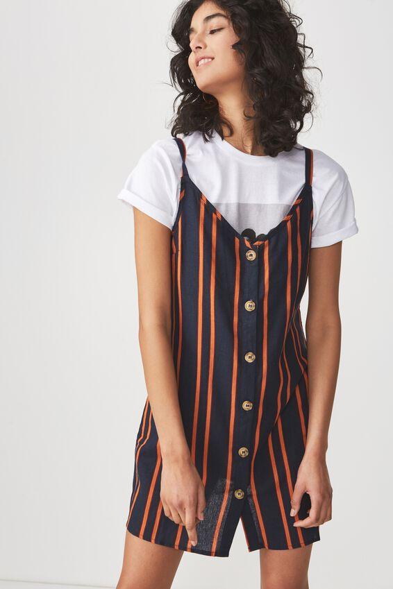 Woven Margot Slip Dress, BUTTON THROUGH SALMA STRIPE DARK SAPPHIRE