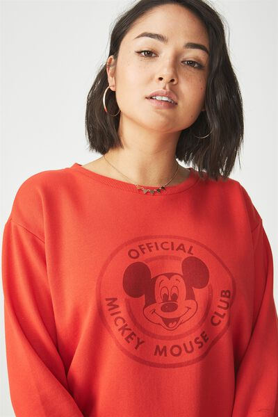 Ferguson Graphic Crew Sweater, LCN MICKEY OFFICIAL/FLAME SCARLET