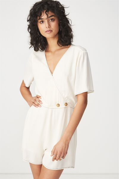 Woven Angie Cap Sleeve Playsuit, GARDENIA/BLACK STITCH