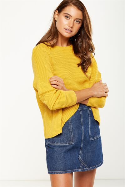 Archy Cropped Pullover, HONEY MUSTARD