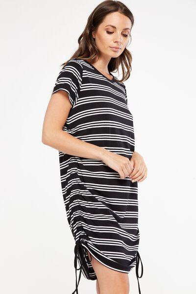 Shaniqua Rouched Side T-Shirt Dress, BLACK/WHITE MACEY STRIPE