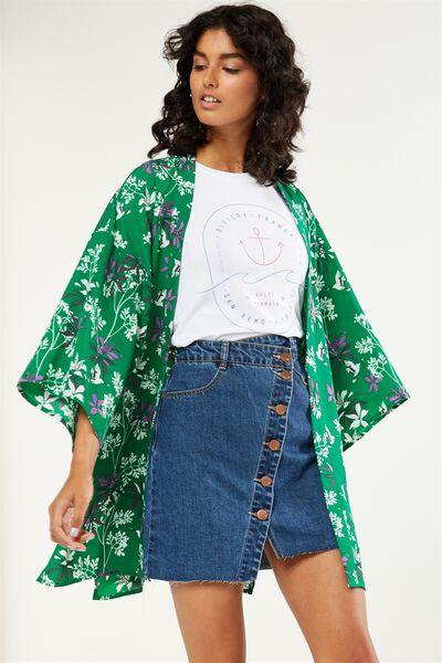 Holly Kimono, O PEARL SPRING PRINT JELLY GREEN