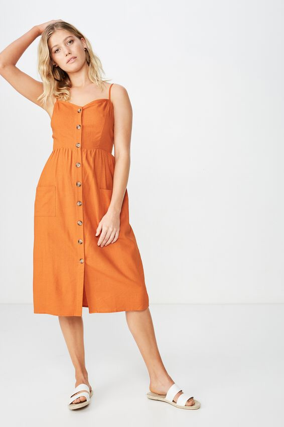 Woven Beth Button Front Midi Dress, RUST TAN