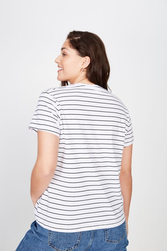 Curve Graphic Tee, AMOUR WHITE/BLACK Y/DYE STRIPE
