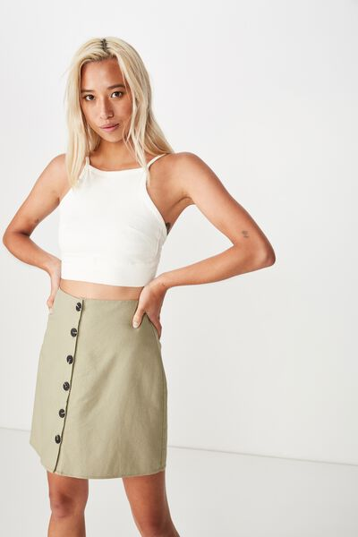 Woven Medina Mini Skirt, SILVER SAGE