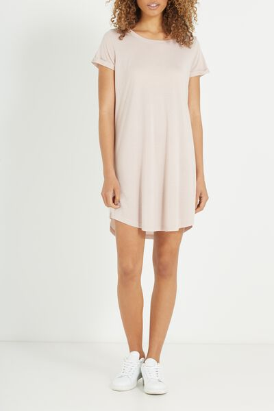 Tina Tshirt Dress 2, BURLYWOOD