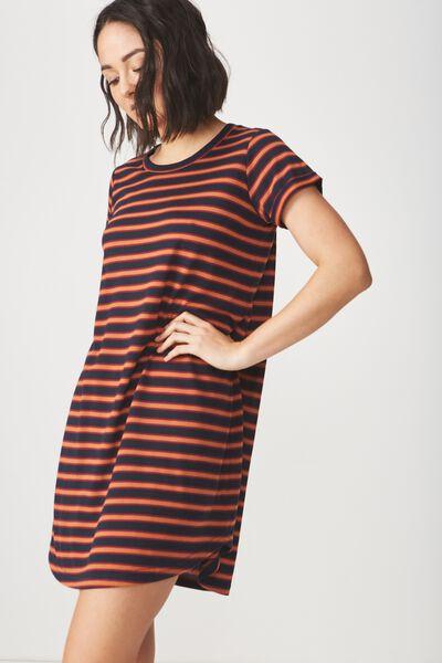 Tina Tshirt Dress 2, SANDY STRIPE DARK SAPPHIRE