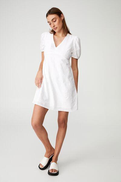 Woven Arianna Tie Back Mini Dress, WHITE