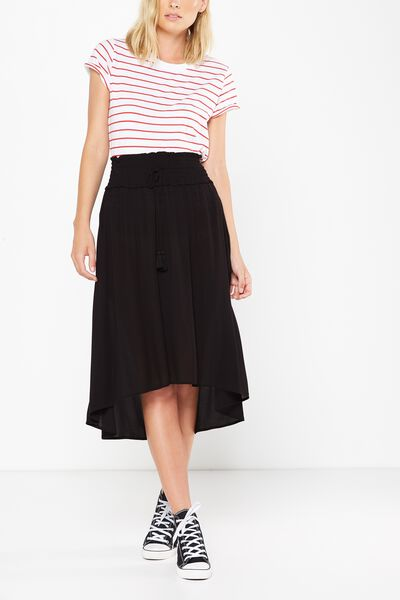 Woven Romy Shirred Maxi Skirt, BLACK