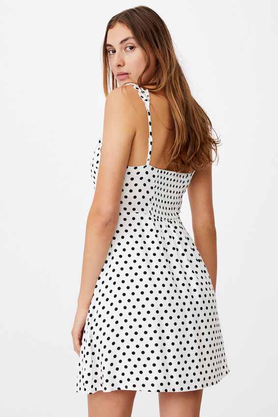 Woven Quinn Ruffle Strap Mini Dress, SALLY SPOT WHITE