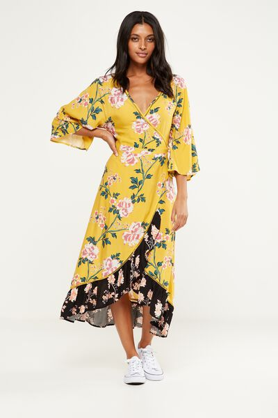 Woven Caitlin Wrap Kimono Sleeve Maxi Dress, ALICIA FLORAL LARGE LEMON/ALICIA FLORAL PEACH BUD